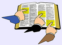 A picture, of hands pointing at different parts of the Bible.